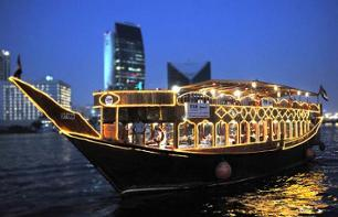 Dinner Cruise in Dubai by Dhow (traditional Middle Eastern sailboat) – Transport included